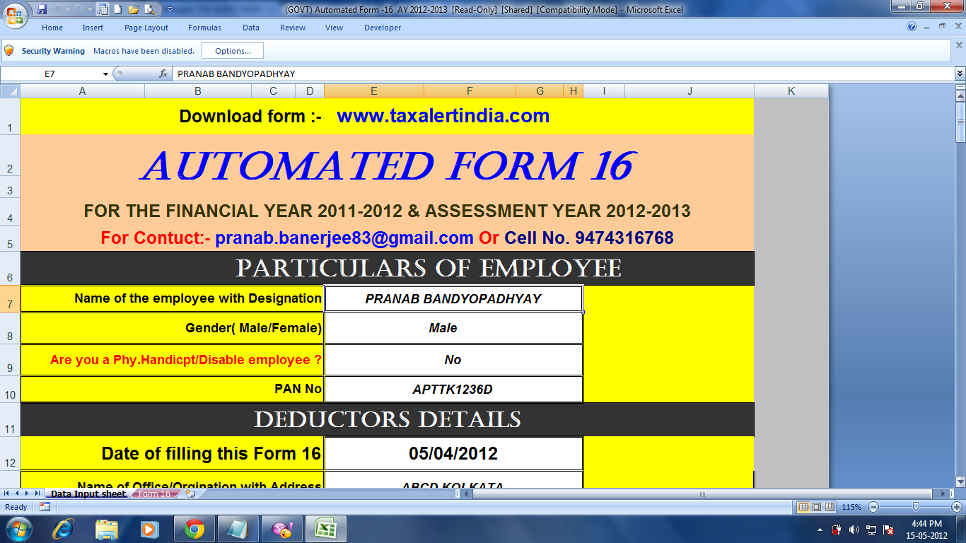 Excel based automated form 16