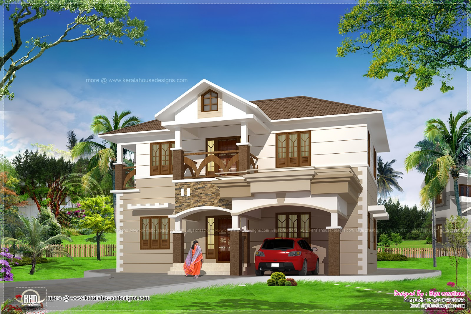 Kerala home design and floor plans 4 bedroom villa in for 4 bedroom villa plans