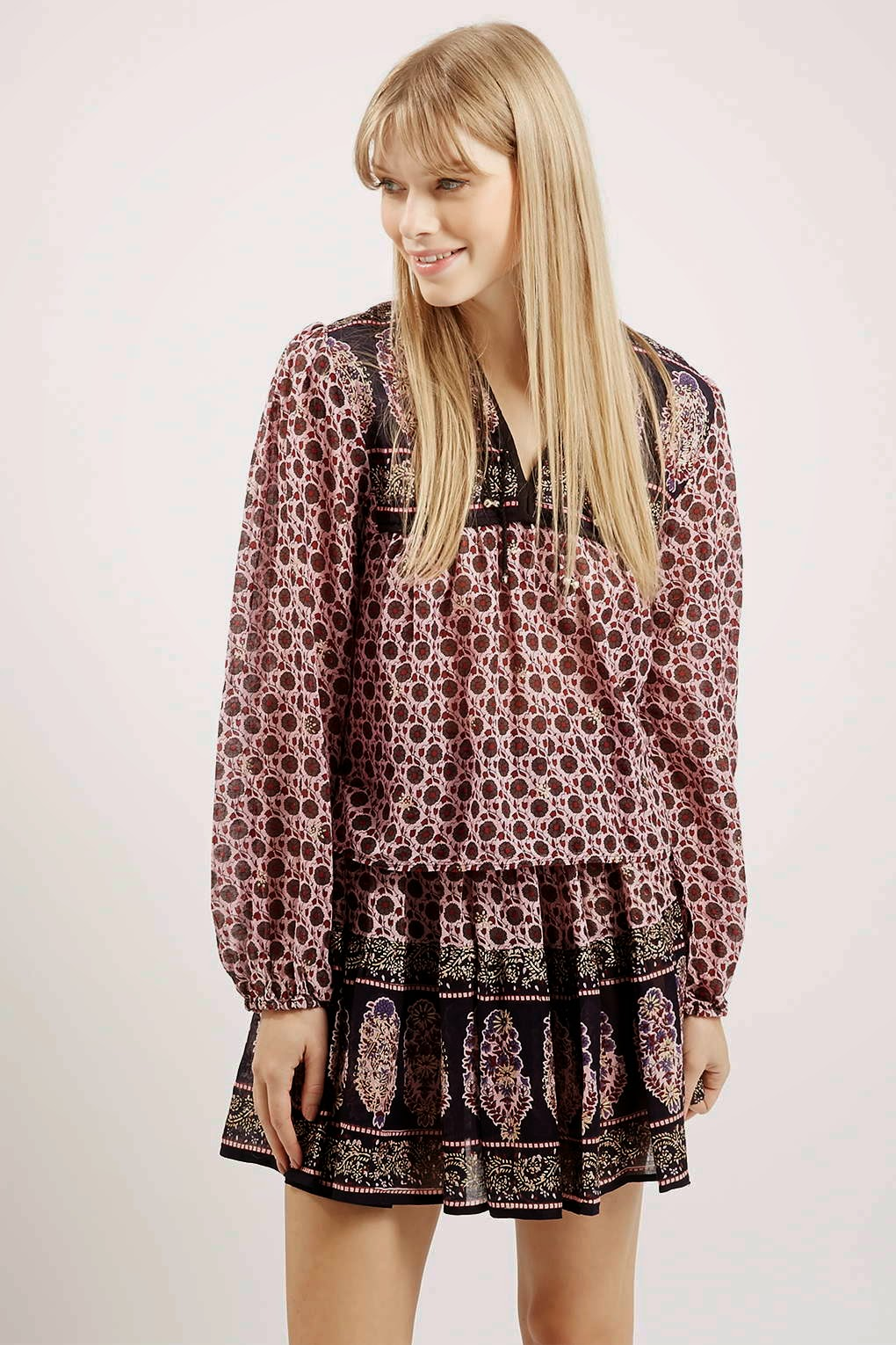 wild past print top, wild past peasant top,