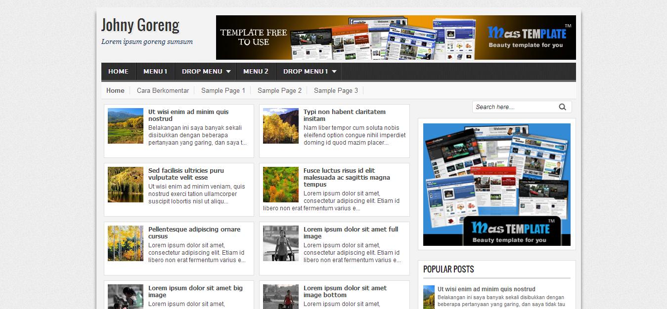 Johny Goreng Blogger Template | Cool Blog Templates | Premium ...