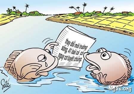 Biếm họa môi trường sống dưới nước bị ô nhiễm
