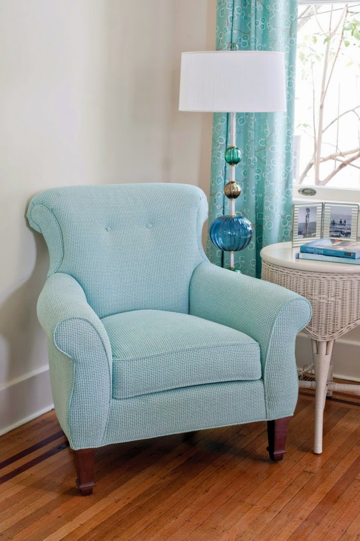 9 fotos de decoraci n de salas en color aguamarina - Butacas tapizadas modernas ...