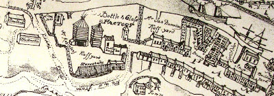 A sketch map of the banks of the river Wear showing various properties including a glassworks, Elstob's Brewery and a shipbuilding yard.