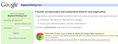 "Google Apps Domain Registration - Login for default user ""bloggeradmin"""