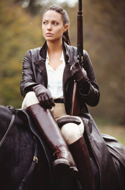 Ladies leather shooting gloves - Trot On Style The Clothes Horse Angelina Jolie Rides Side Saddle