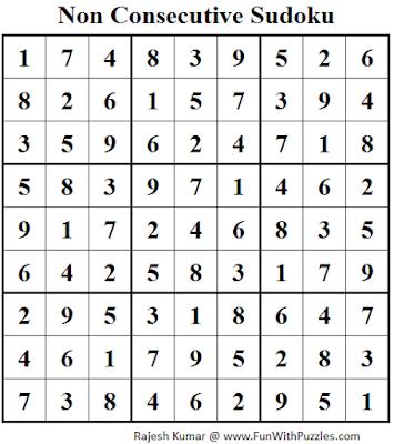 Non Consecutive Sudoku (Fun With Sudoku #77) Solution