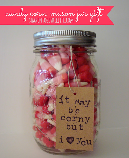 adorable Valentine candy corn mason jar gift at shaken together