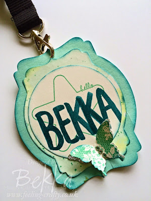 Bekka's Name Badge for Stampin' Up! UK Telford Training - includes Sneak Peeks! Get them at www.bekka.stampinup.net