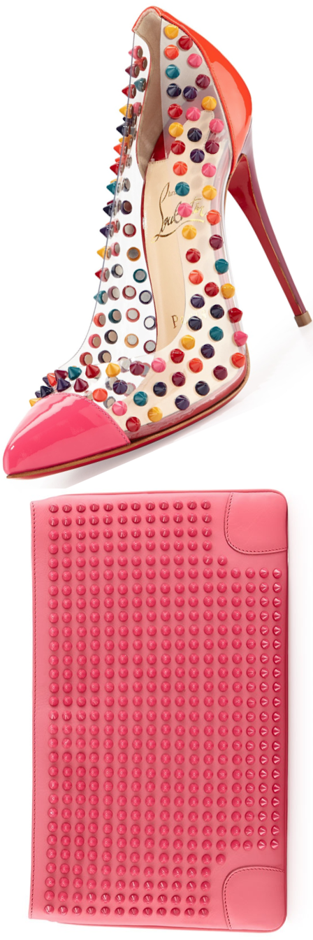 Christian Louboutin Spike Me PVC Cap-Toe Red Sole Pump