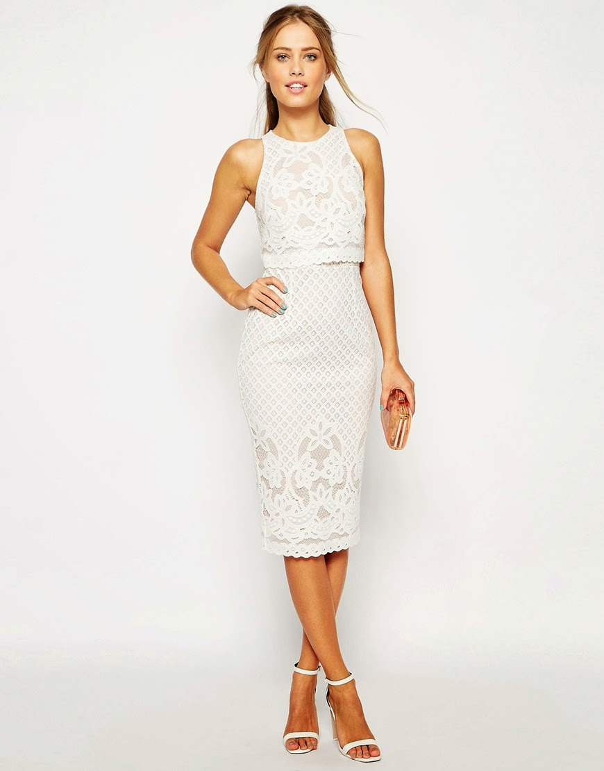 white lace layered dress