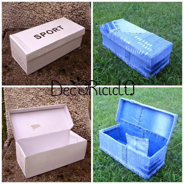 Decoriciclo scatola da scarpe rivestita di jeans for Foderare una scatola