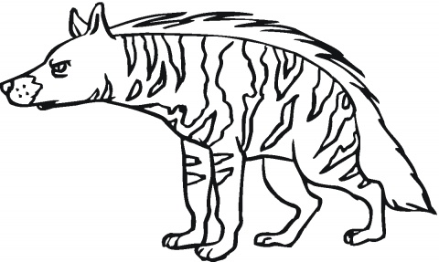 Animal Printable Scary Hyena Coloring Sheet