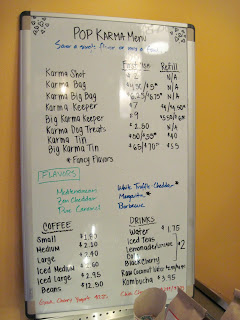A white board of popcorn goodness at the New in New York Pop Karma