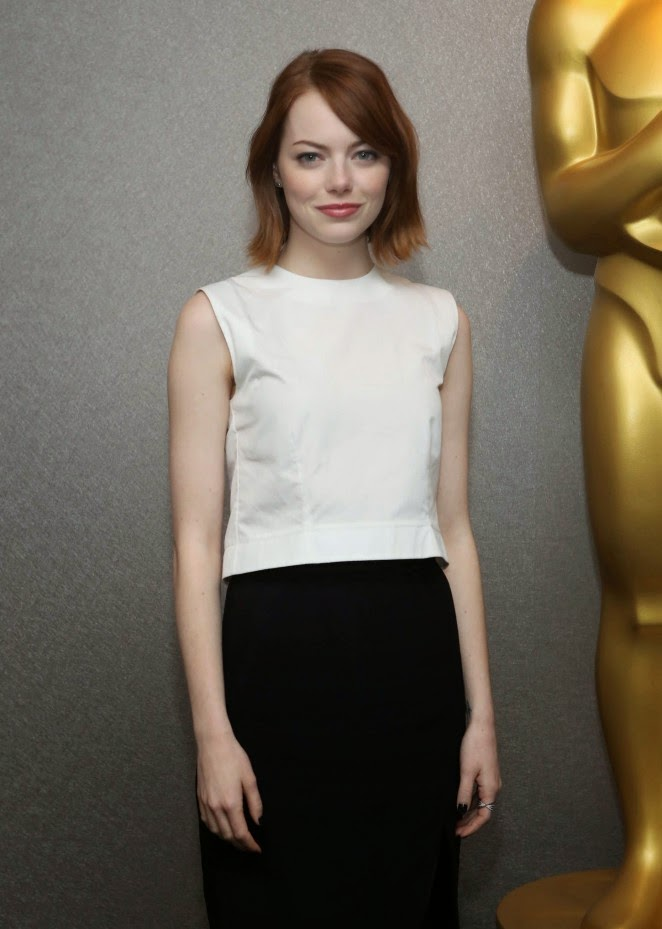 Emma Stone in an Altuzarra skirt at the 'Birdman' premiere in New York City