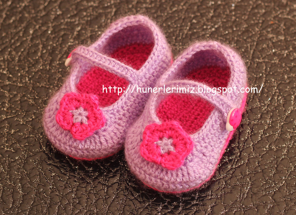 Crochet Patterns And Tutorials : H?nerlerimiz: Crocheted Baby Booties Tutorial - T?? ??i Bebek ...