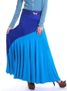 Skirt Labuh Kembang Umbrella 655 - Blue