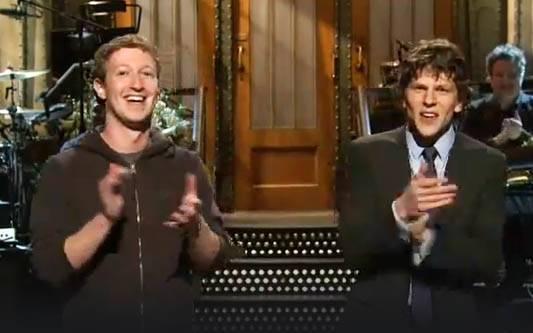 Mark Zuckerberg e o ator Jesse Eisenberg
