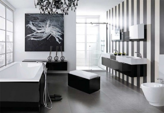 Baños Modernos Blanco:Black and White Bathroom Ideas