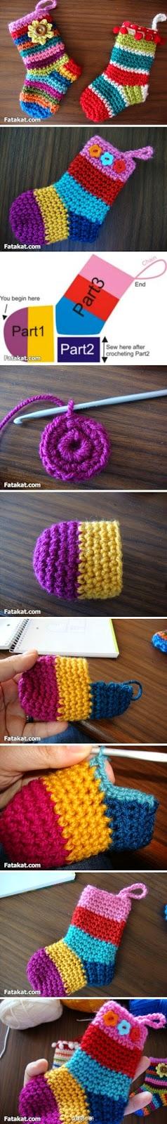 Botas decorativas multicolores al crochet