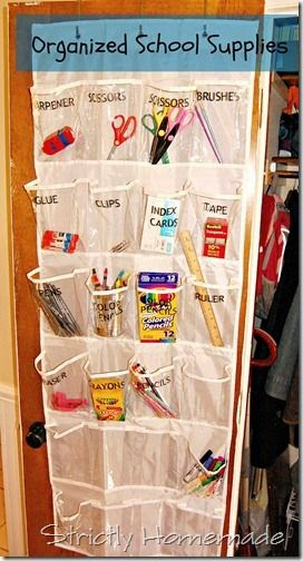 http://strictly-homemade.blogspot.com/2012/08/organizing-school-supplies-with-hanging.html