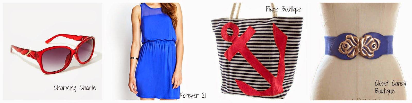 July Trends - Red Sunglasses, Blue Dresses and Belts, and Nautical Totes