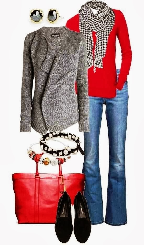 Fashionable Grey Cardigan with Red Sweater, Blue Jeans, Striped Stylish Scarf, Red Handbag, Beautiful Earrings, Bracelets and Black Adorable Moccasin Shoes