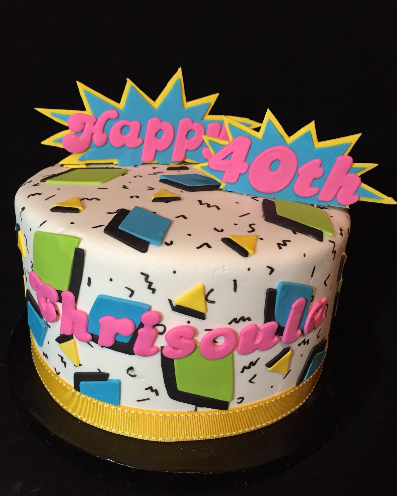This Was An 8 Two Layer Chocolate Cake For The BAM Around Happy 40th I Did Layers Of Fondant So Could Put Tooth Picks In Between To Be Able