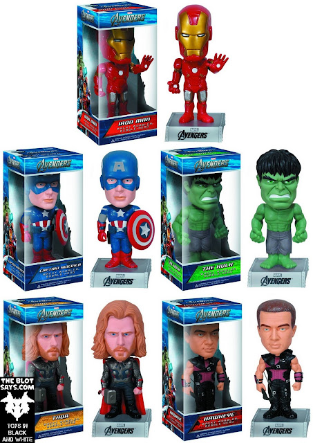 The Avengers Movie Wacky Wobbler Bobble Heads by Funko - Iron Man Mark VII, Captain America, The Hulk, Thor & Hawkeye