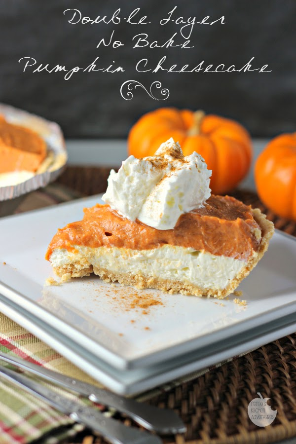 A wonderful no bake option for a light and tasty dessert with a cheesecake layer and a pumpkin pie layer!