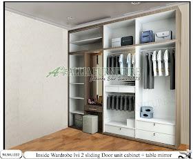 Dalam lemari minimalis meja rias sliding unit cabinet Ivi