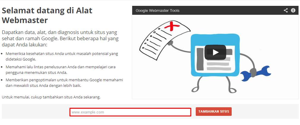 Cara mendaftarkan blog/ website di Google Webmaster
