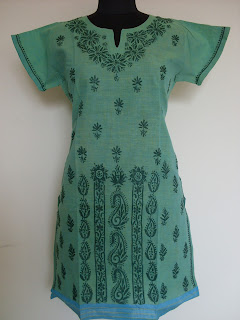 Lucknowi chikan Green colour kurta with short sleeves