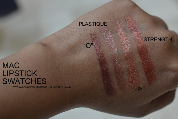 MAC Lipsticks swatches Indian Darker Skin NC45 Makeup Beauty Blog O Plastique Strength Jist