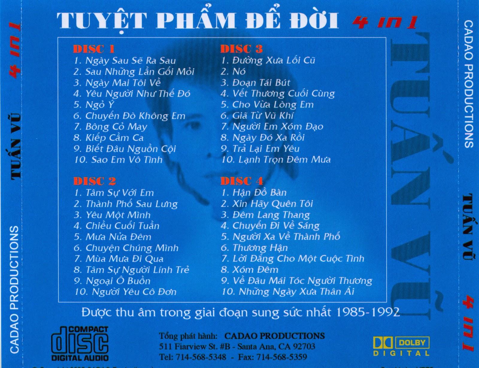 Tuấn Vũ: Tuyệt phẩm để đời{4CD} [FLAC],The Best Of Tuấn Vũ