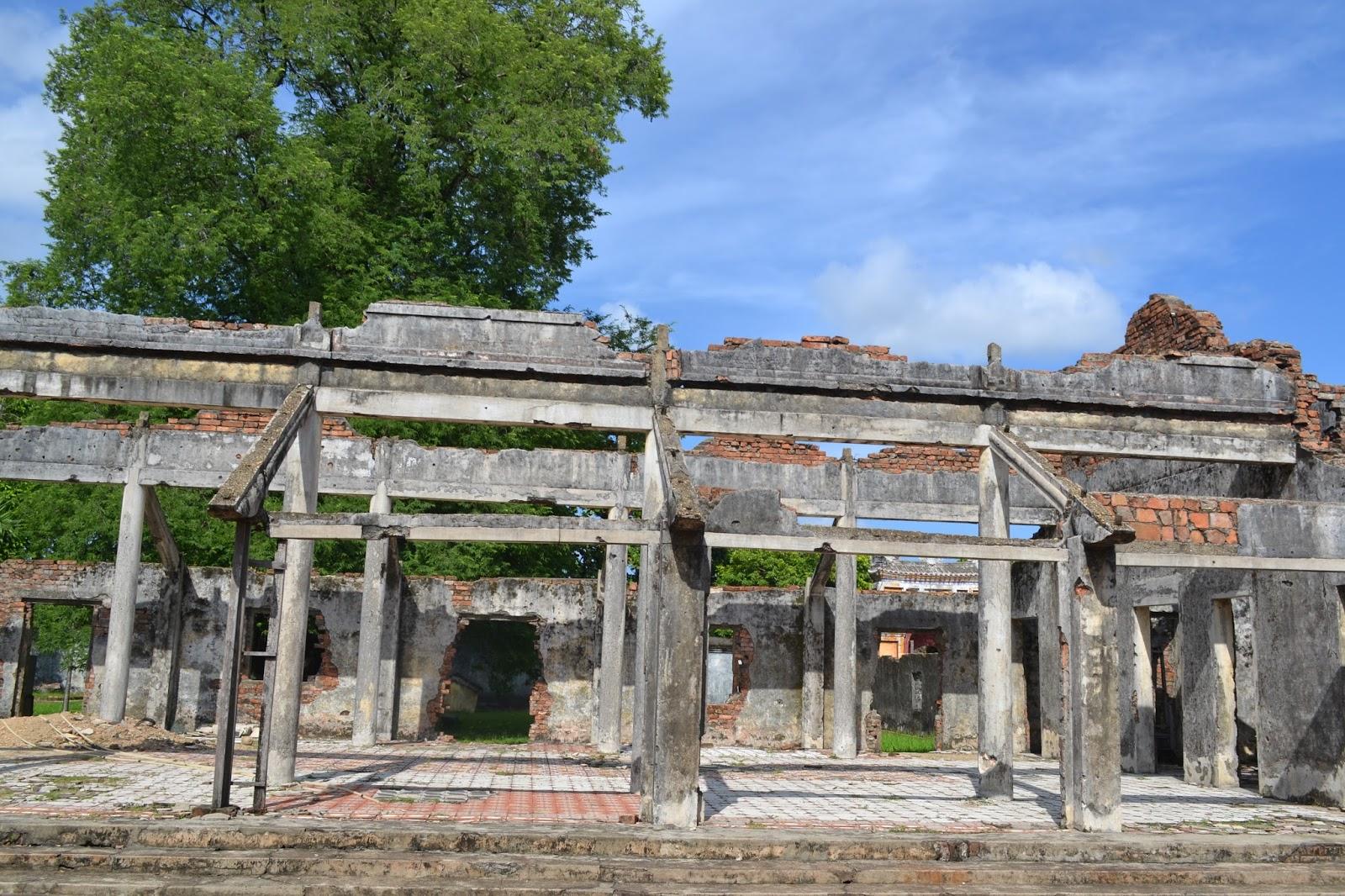 Reminder of vietnam war inside Imperial city, Hue