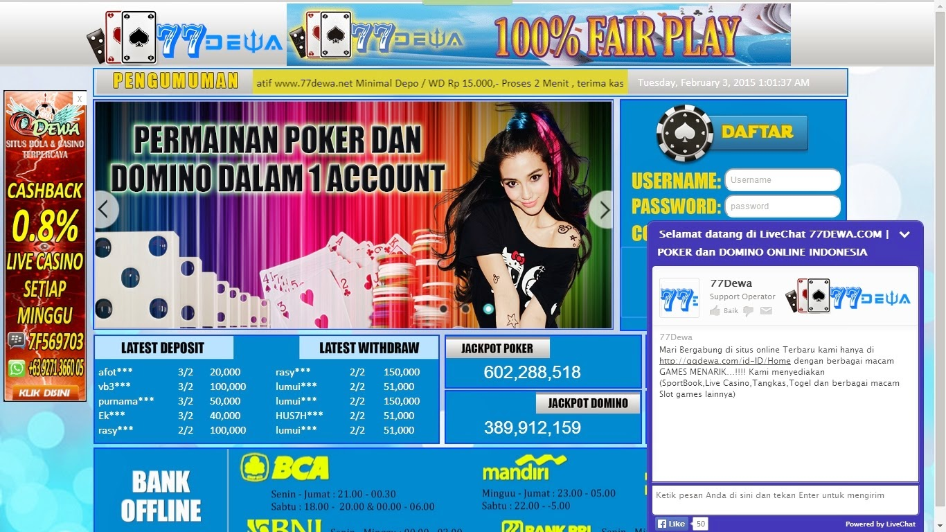 77Dewa SITUS JUDI POKER dan DOMINO ONLINE INDONESIA TERPERCAYA