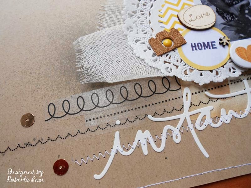 SRM Stickers Blog - Lovely Layout by Roberta - #layout #doilies #embossed #kraft #calendar #twine #stickers
