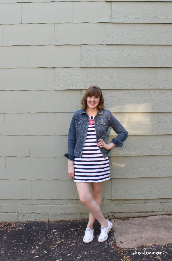 denim jacket, striped dress, white sneakers | www.shealennon.com