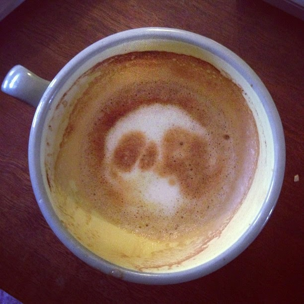 Espresso cup where the froth looks like a skull