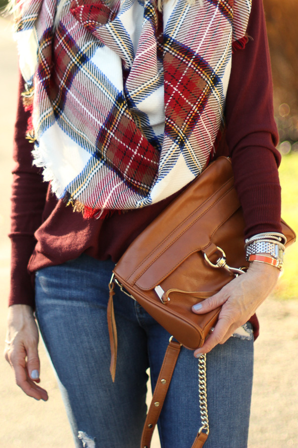 cognac cross body bag with fringe