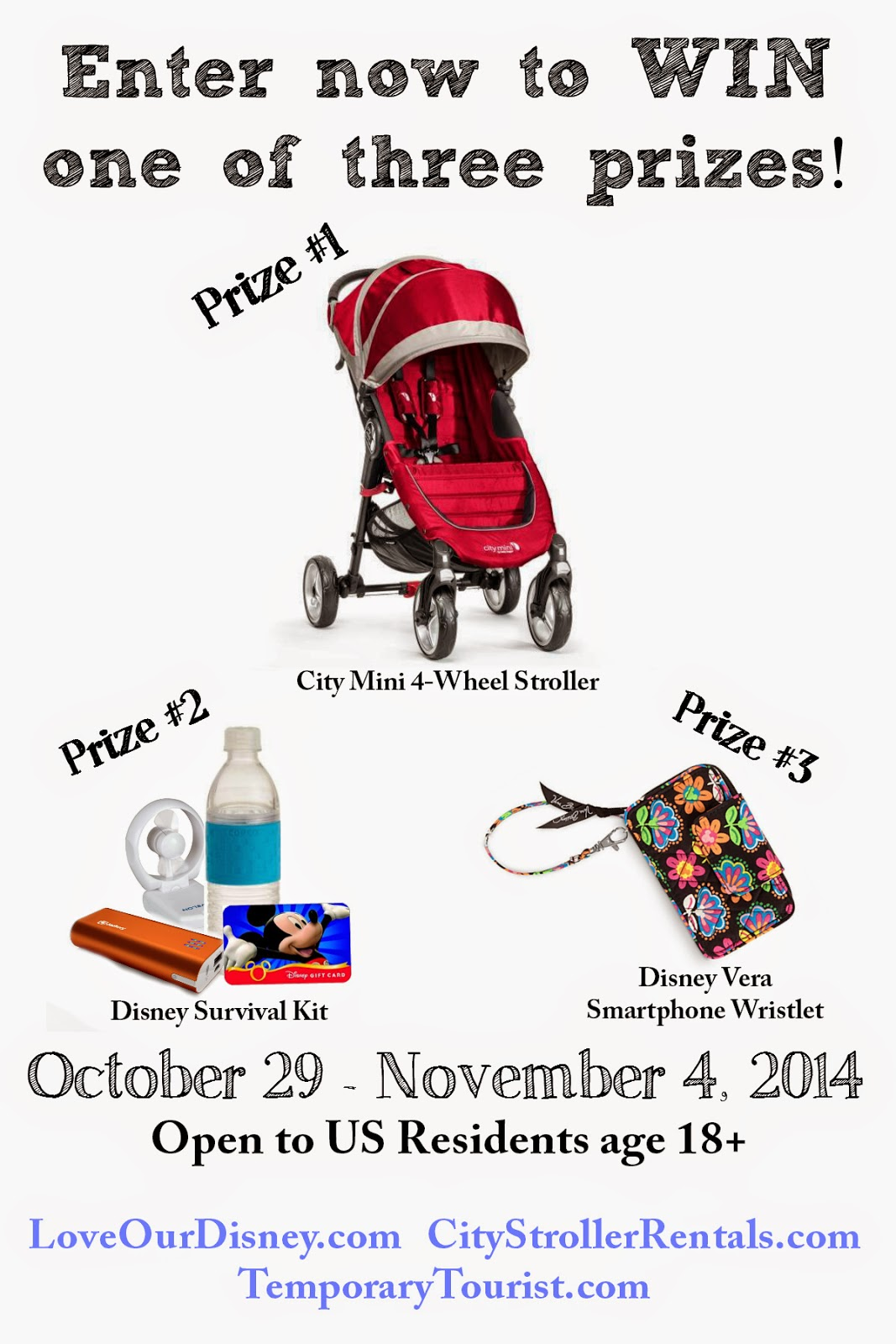 Enter to win a City Mini Single Stroller, Disney Survival Pack, Or Vera Bradley Wristlet