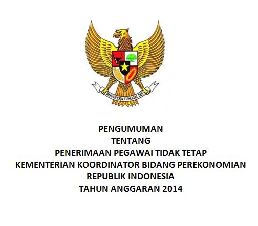 Pengumuman Penerimaan Pegawai Tidak Tetap Kementerian Koordinator Perekonomian