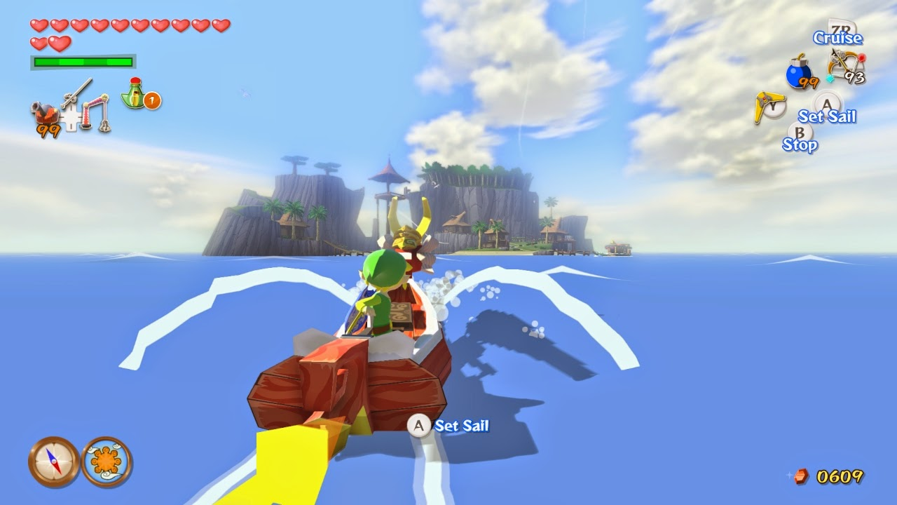 Link sails towards Outset island on the Red Lion.