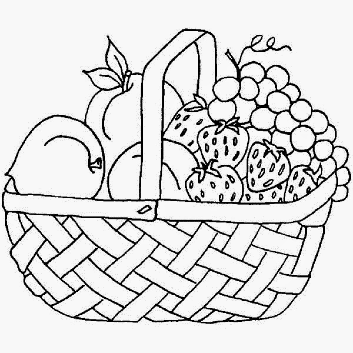 fruit and vegetables coloring pages - colours drawing wallpaper fruit basket pictures for kids