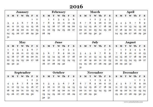 2016 Blank Printable Calendar Printable Calendar 2016