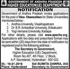 AP Vice-Chancellor,VC Posts,Notification