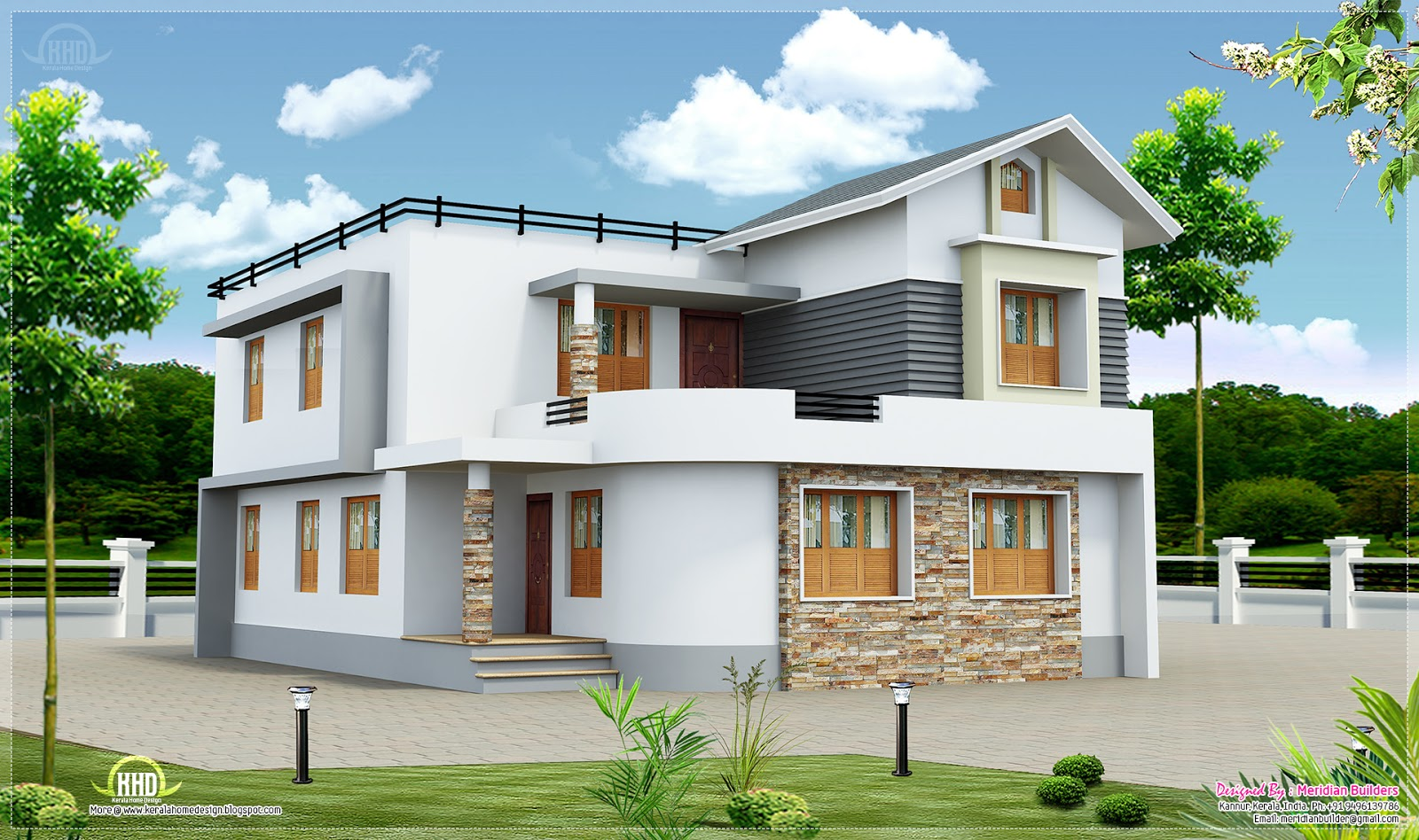 Two storied house in 5 cents plot kerala home design and for Two floor house design