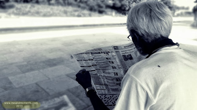 man reading newspaper, news geek, early morning newspaper, old man reading