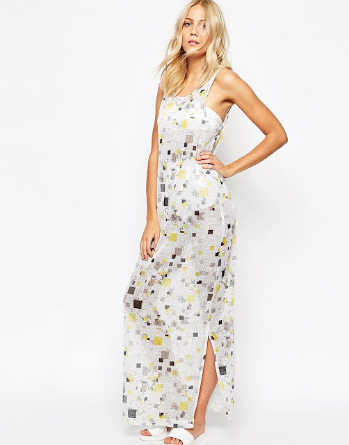 2nd day white maxi dress, 2nd day maxi dress, square print maxi dress,