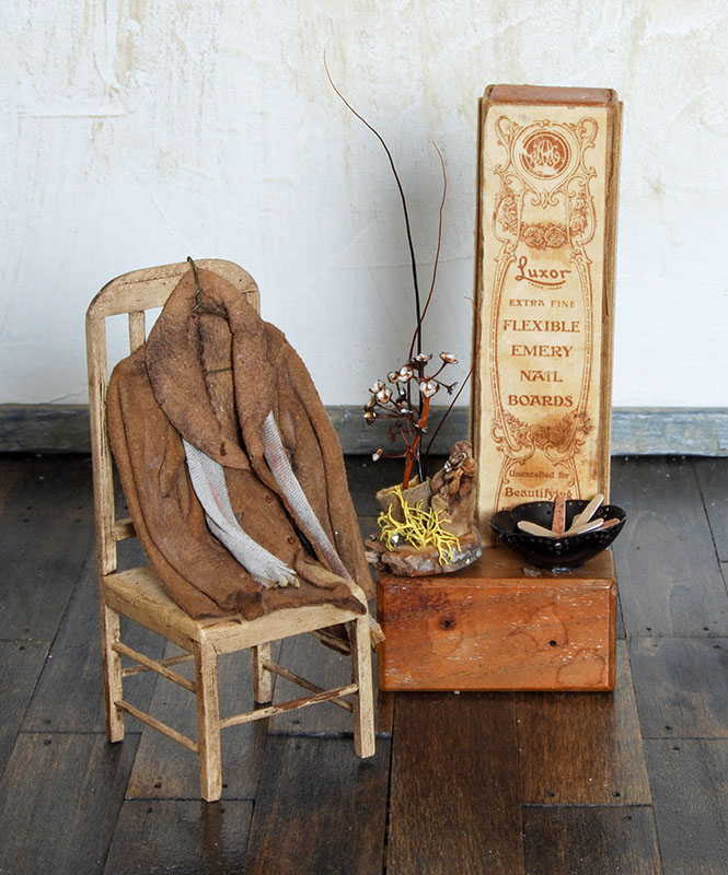 Display with vintage emery board box The